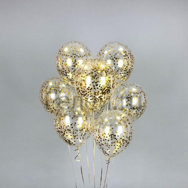 Прозрачные шары с золотым круглым конфетти