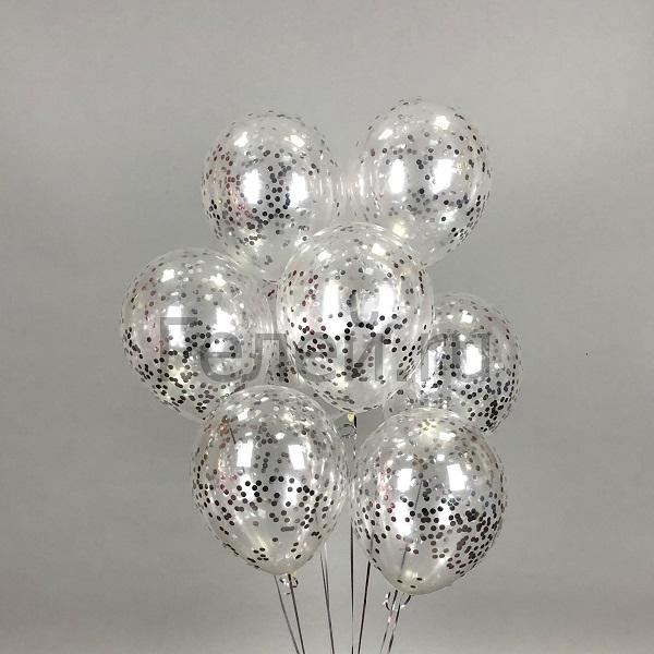 Прозрачные шары с серебрянным круглым конфетти