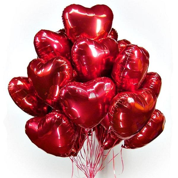 Облако фольгированных красных сердец 46 см.