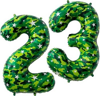 Набор цифр с гелием 23 Камуфляж 86 см.