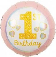 Круг 1-й День Рождения Девочки (радужные сердечки) 46 см.