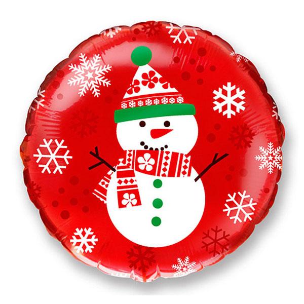 Снеговик на красном фоне 45 см.