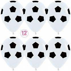Шар (12''/30 см) Футбольный мяч, Белый (005), пастель, 50 шт.